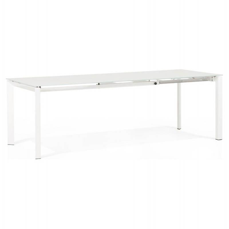 Table design rectangulaire avec rallonge JEANNE en verre et métal (160/230cmX90cmX75cm) (blanc) - image 21396