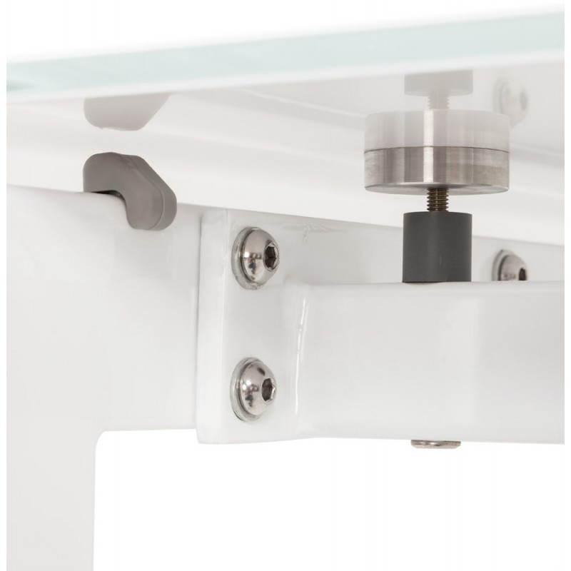 Table design rectangulaire avec rallonge JEANNE en verre et métal (160/230cmX90cmX75cm) (blanc) - image 21401