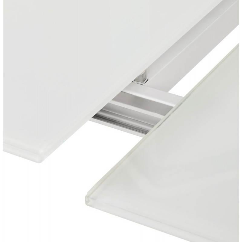 Table design rectangulaire avec rallonge JEANNE en verre et métal (160/230cmX90cmX75cm) (blanc) - image 21403