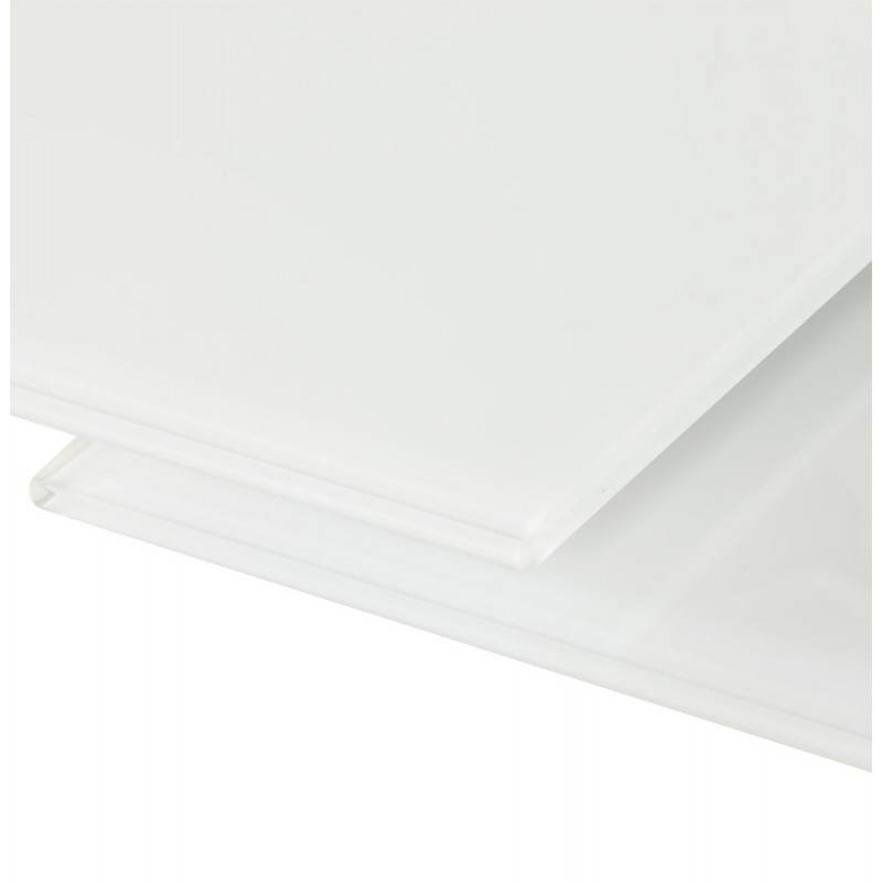 Table design rectangulaire avec rallonge JEANNE en verre et métal (160/230cmX90cmX75cm) (blanc) - image 21404