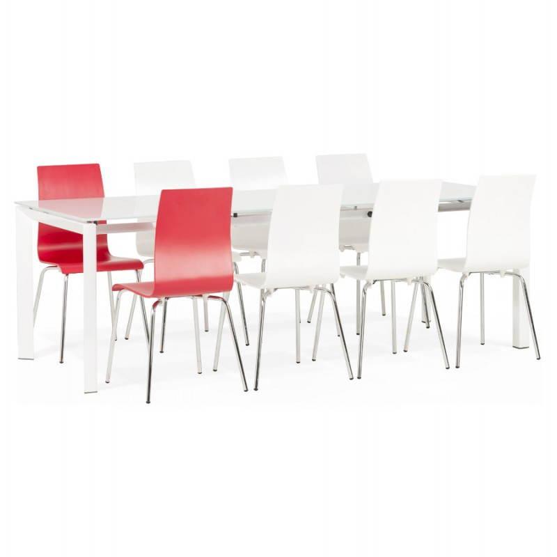 Table design rectangulaire avec rallonge JEANNE en verre et métal (160/230cmX90cmX75cm) (blanc) - image 21406