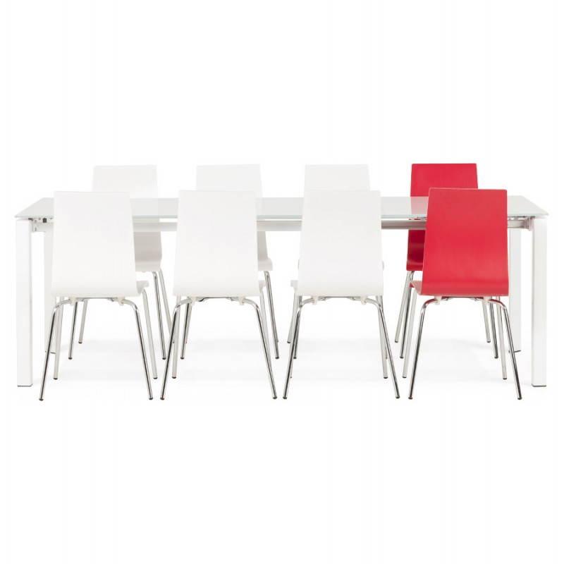 Table design rectangulaire avec rallonge JEANNE en verre et métal (160/230cmX90cmX75cm) (blanc) - image 21407