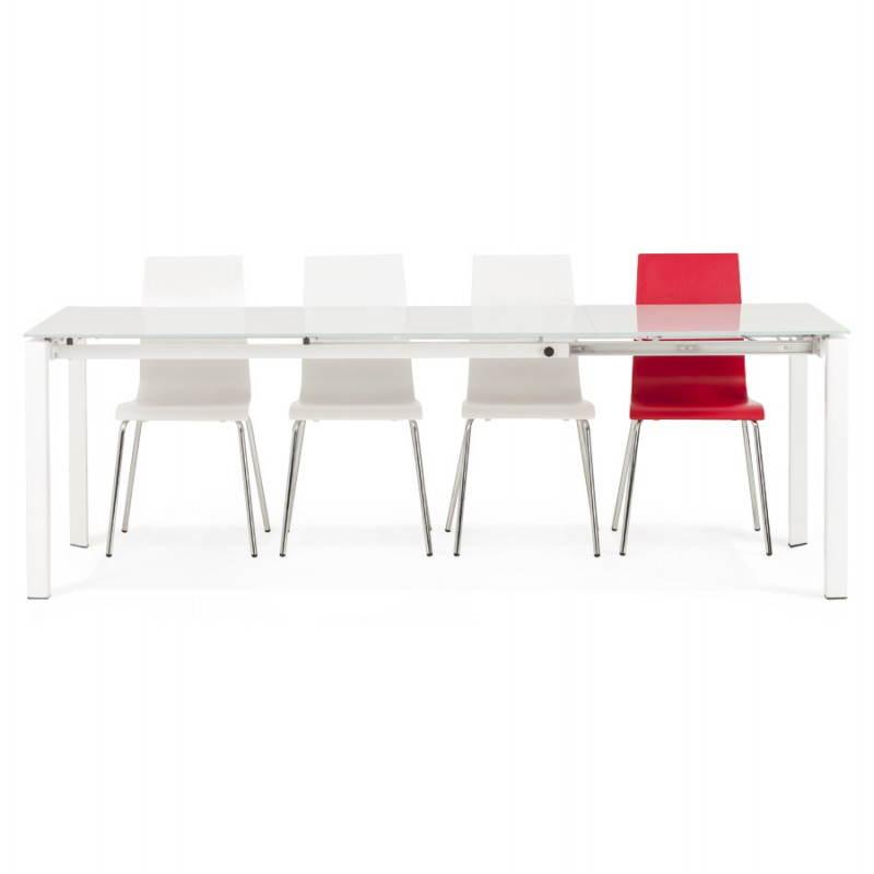 Table design rectangulaire avec rallonge JEANNE en verre et métal (160/230cmX90cmX75cm) (blanc) - image 21408