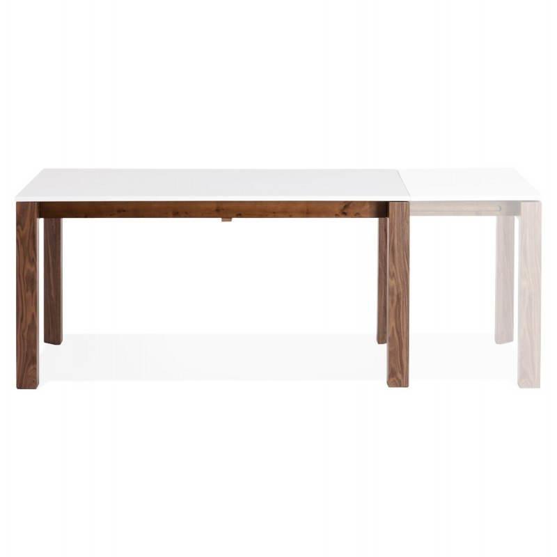 Table design rectangulaire avec rallonge LOULOU en bois (150/200cmX90cmX75cm) (blanc) - image 21442