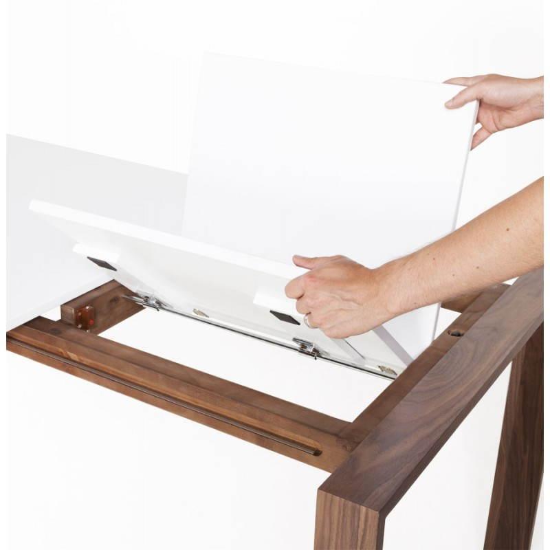Table design rectangulaire avec rallonge LOULOU en bois (150/200cmX90cmX75cm) (blanc) - image 21450