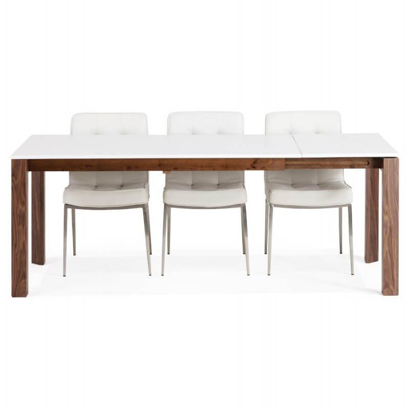 Table design rectangulaire avec rallonge LOULOU en bois (150/200cmX90cmX75cm) (blanc) - image 21453