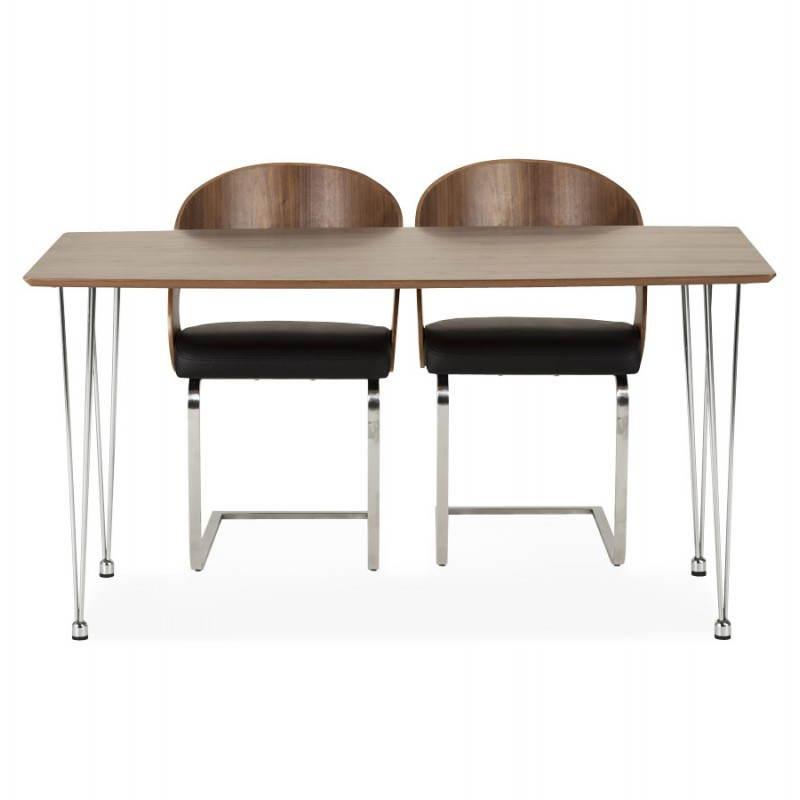 Table design rectangulaire SOPHIE en bois (140cmX70cmX72cm) (noyer) - image 21479
