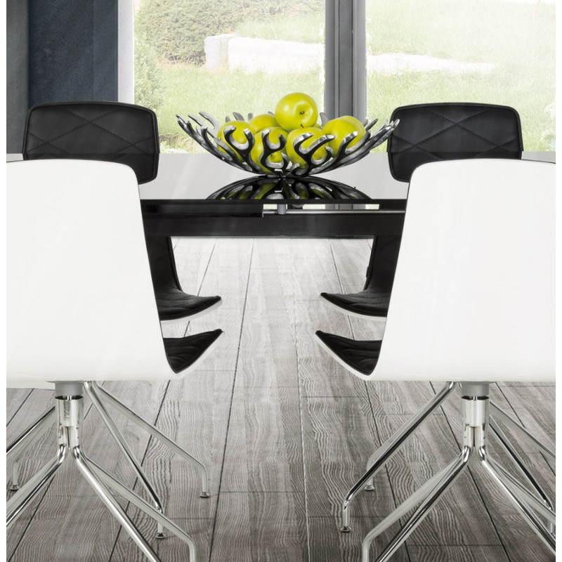 Table design rectangulaire avec rallonge MONA en verre trempé et inox (160/230cmX90cmX74cm) (noir) - image 21520