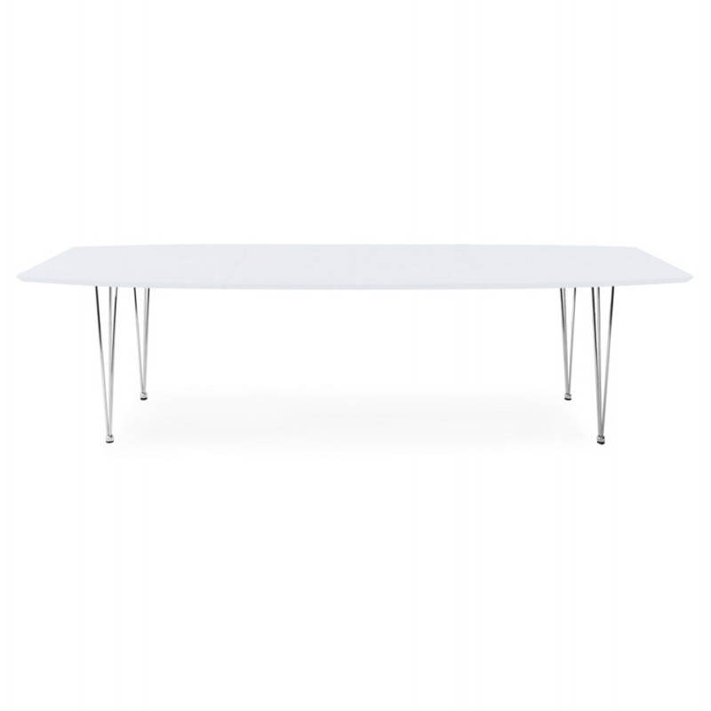 Rectangular design table with extensions LOANA in wood and chrome metal (white)