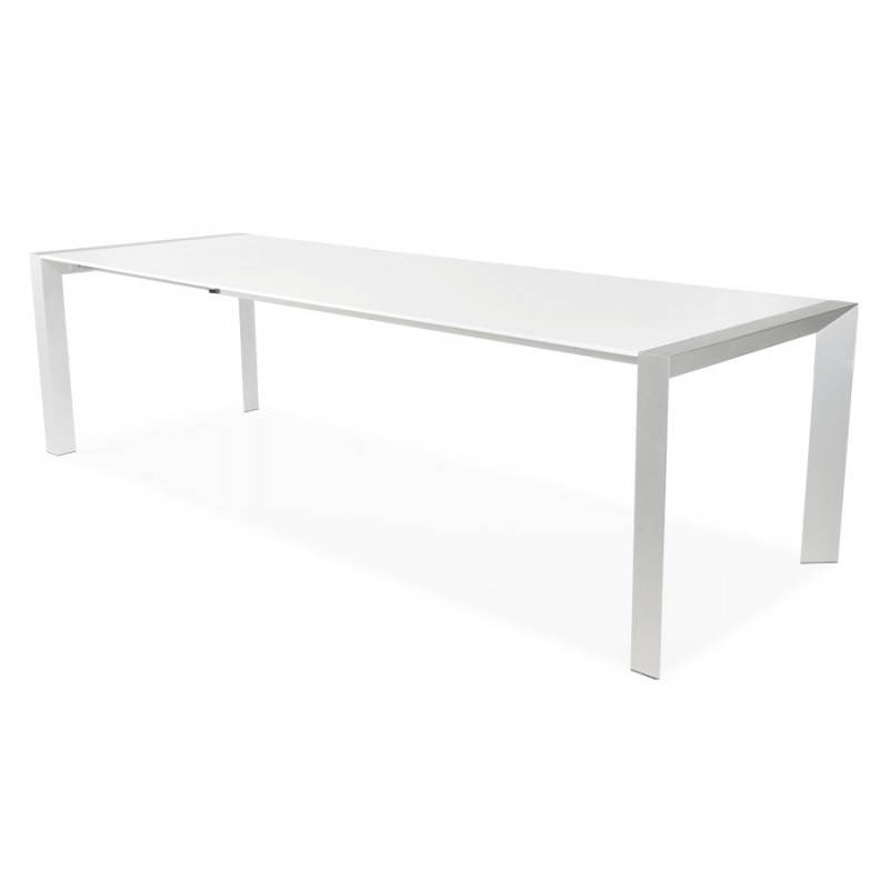 table design avec rallonge fiona en bois laqu et aluminium bross 190 270cmx95cmx75cm blanc. Black Bedroom Furniture Sets. Home Design Ideas