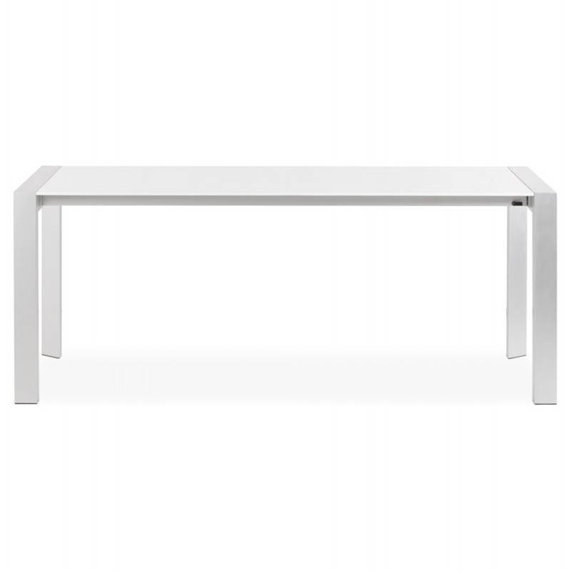 Rectangular design table with extension fiona in lacquered - Table blanc laque rallonge ...