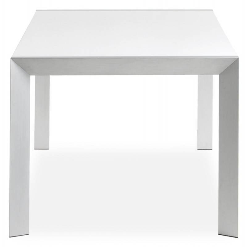 Rectangular design table with extension fiona in lacquered wood and brushed a - Table blanc laque avec rallonge ...