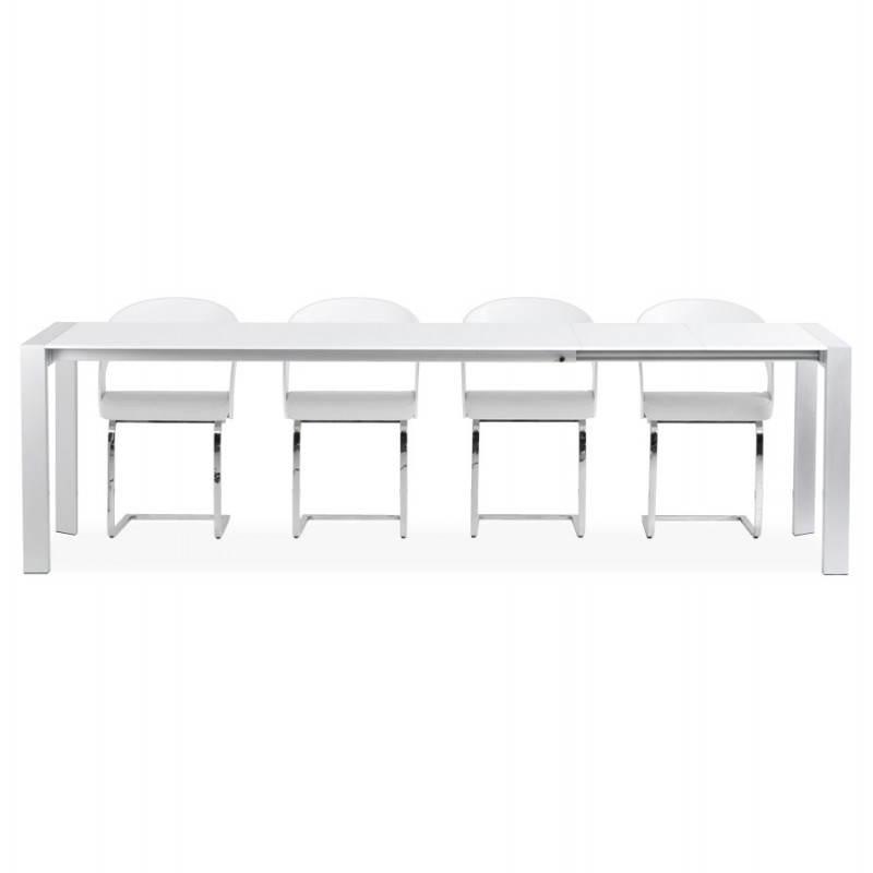 Table design avec rallonge FIONA en bois laqué et aluminium brossé (190/270cmX95cmX75cm) (blanc) - image 21538