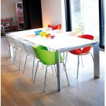 Table design avec rallonge FIONA en bois laqué et aluminium brossé (190/270cmX95cmX75cm) (blanc)