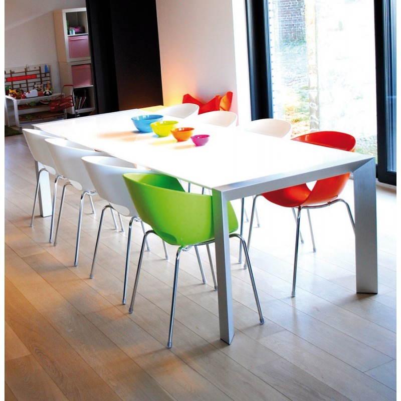 Table design avec rallonge FIONA en bois laqué et aluminium brossé (190/270cmX95cmX75cm) (blanc) - image 21539