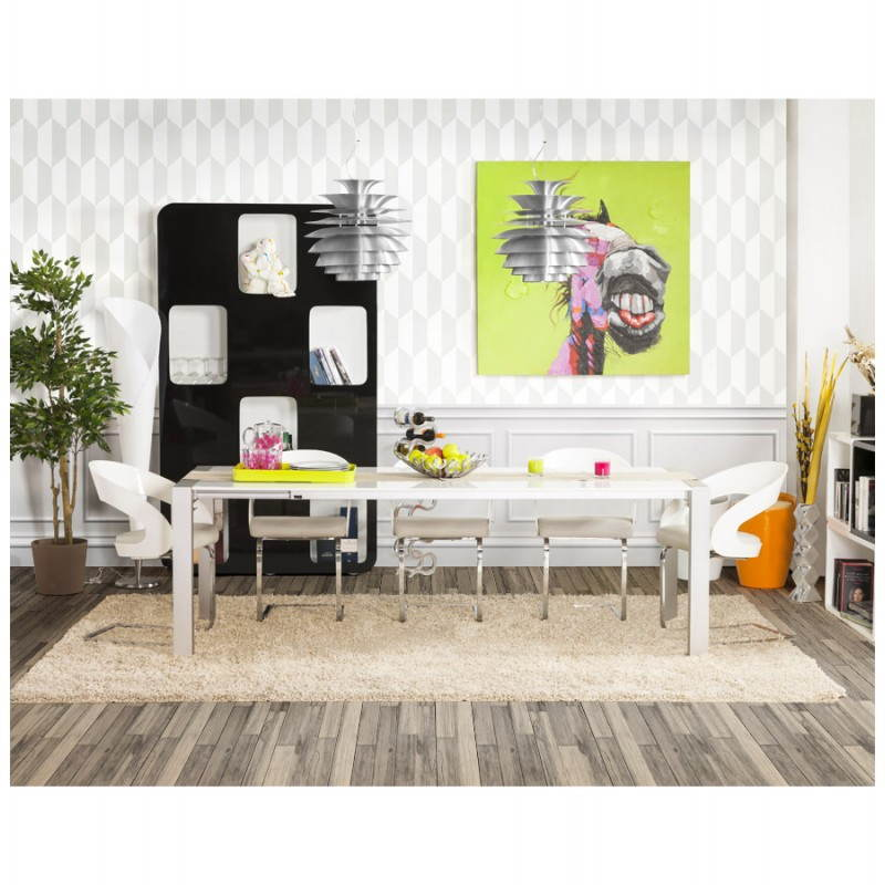 Table design avec rallonge FIONA en bois laqué et aluminium brossé (190/270cmX95cmX75cm) (blanc) - image 21540