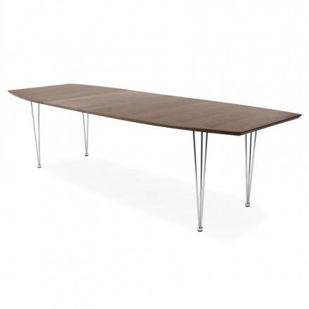 Rectangular design table with extensions RINBO veneered walnut and chrome-plated steel (Walnut)