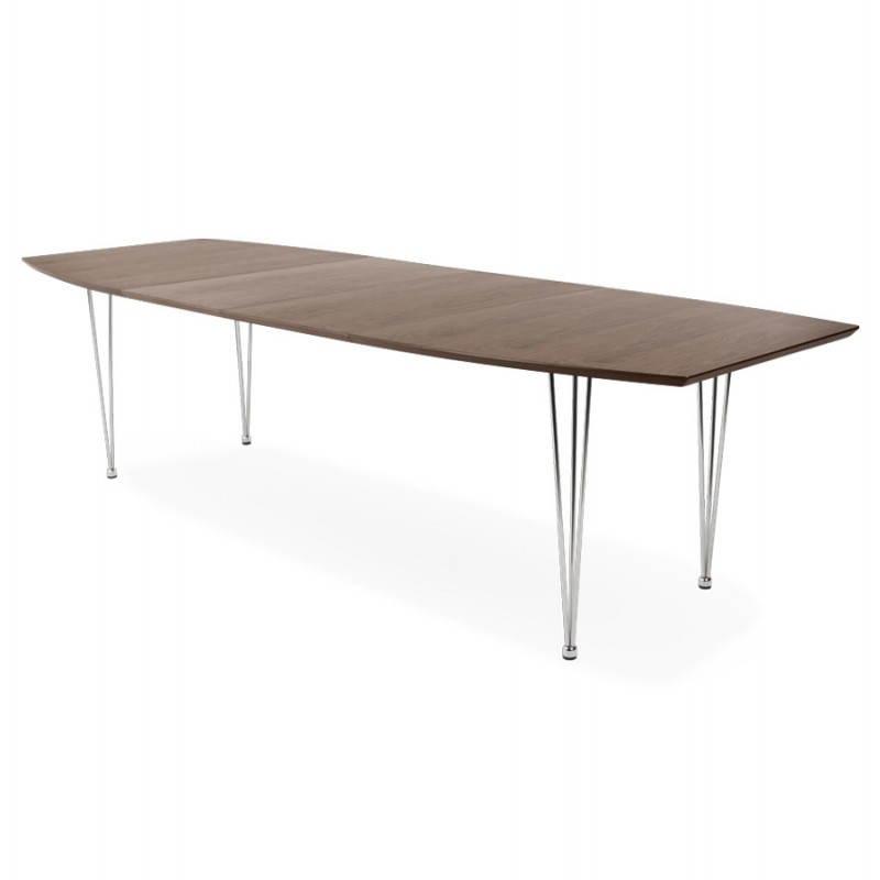 Table design avec rallonges RINBO en plaqué noyer et acier chromé (170/270cmX100cmX74cm) (noyer) - image 21548
