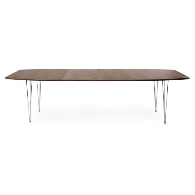 Table design avec rallonges RINBO en plaqué noyer et acier chromé (170/270cmX100cmX74cm) (noyer) - image 21549