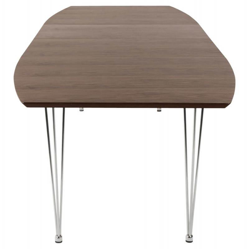 Table design avec rallonges RINBO en plaqué noyer et acier chromé (170/270cmX100cmX74cm) (noyer) - image 21550
