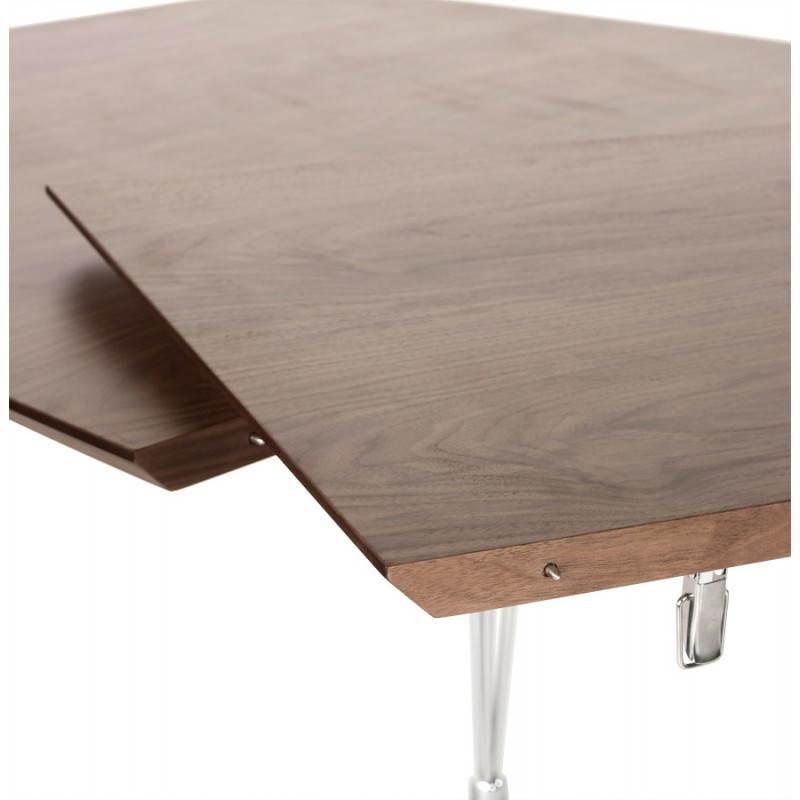 Table design avec rallonges RINBO en plaqué noyer et acier chromé (170/270cmX100cmX74cm) (noyer) - image 21553