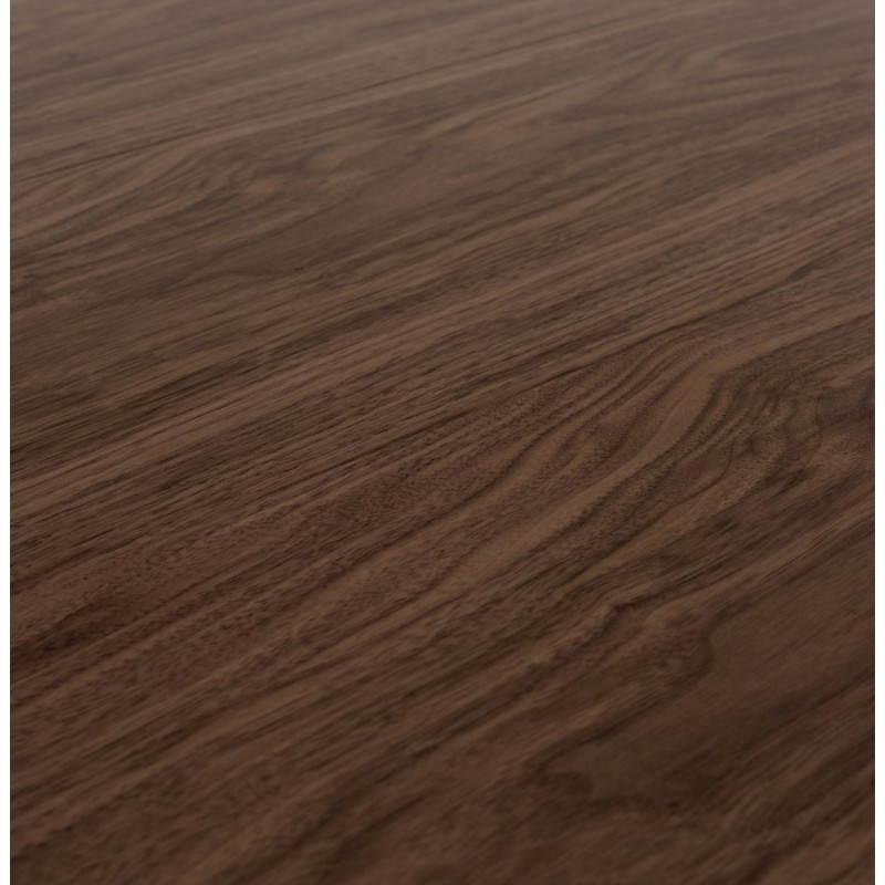 Table design avec rallonges RINBO en plaqué noyer et acier chromé (170/270cmX100cmX74cm) (noyer) - image 21555