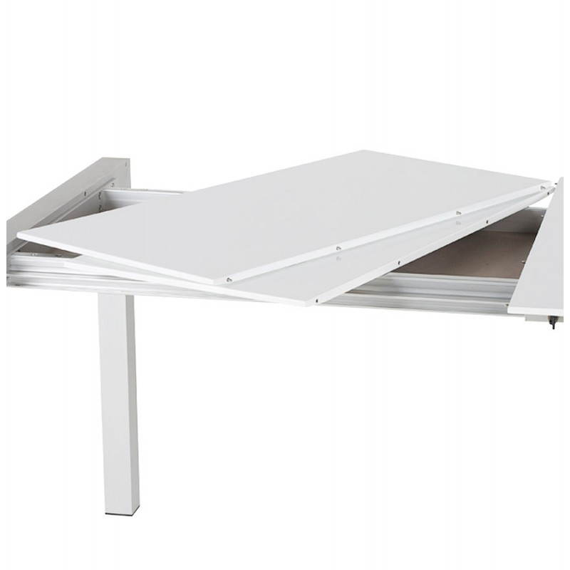 Rectangular design table with extension cords heavy in lacquered wood and brushed aluminum (white) - image 21564