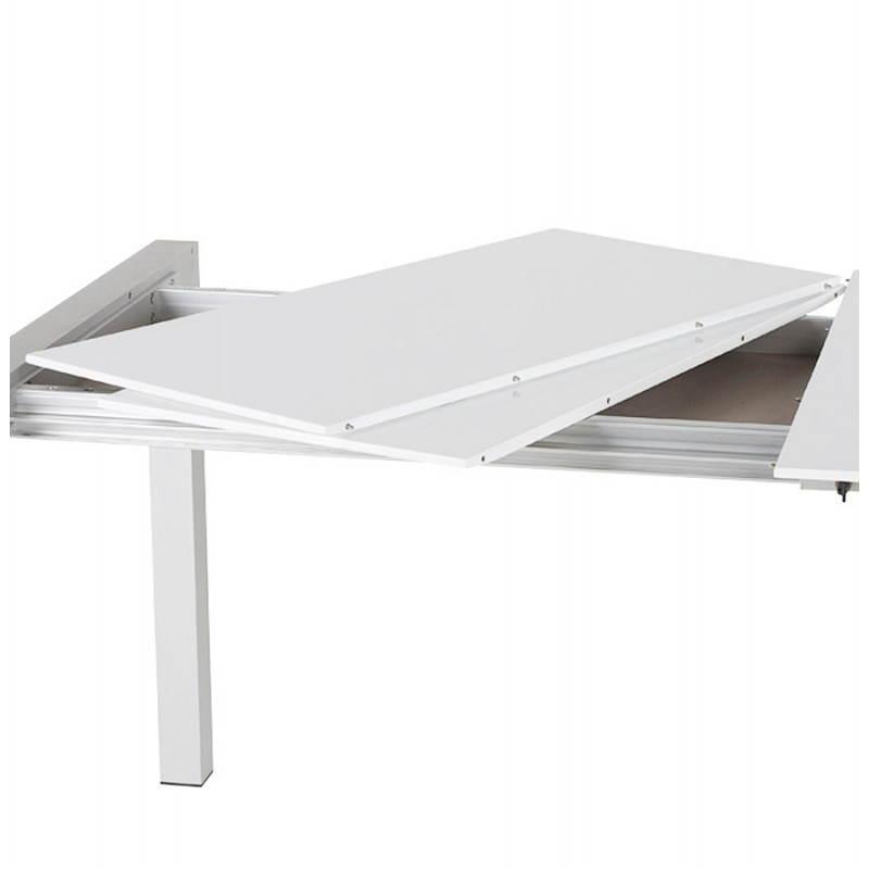 Table design rectangulaire avec rallonges LOURDE en bois laqué et aluminium brossé (blanc) - image 21564