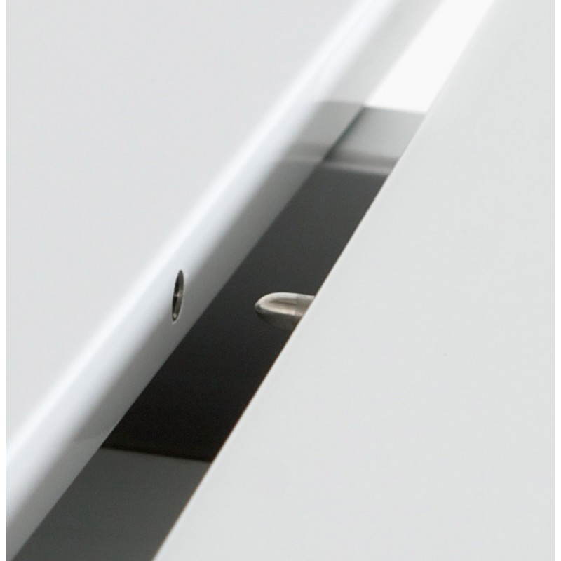 Rectangular design table with extension cords heavy in lacquered wood and brushed aluminum (white) - image 21568