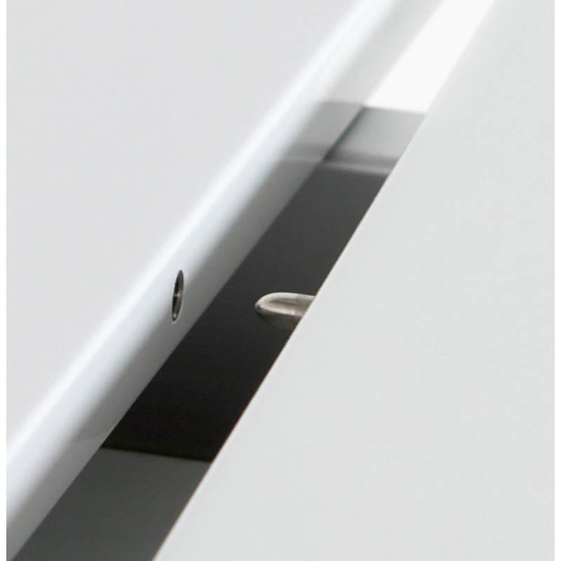 Table design rectangulaire avec rallonges LOURDE en bois laqué et aluminium brossé (blanc) - image 21568