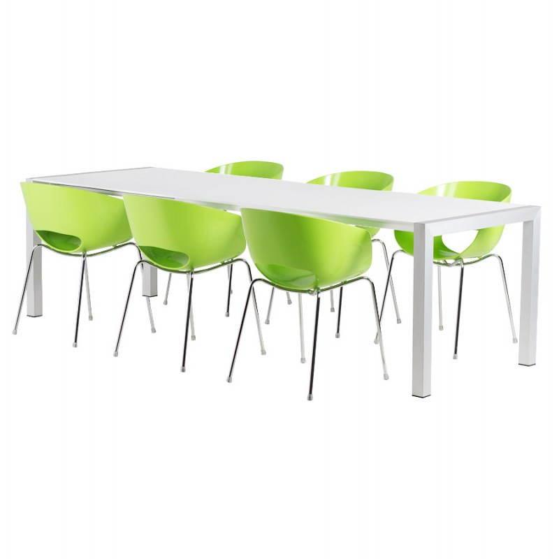 Table design rectangulaire avec rallonges LOURDE en bois laqué et aluminium brossé (blanc) - image 21570