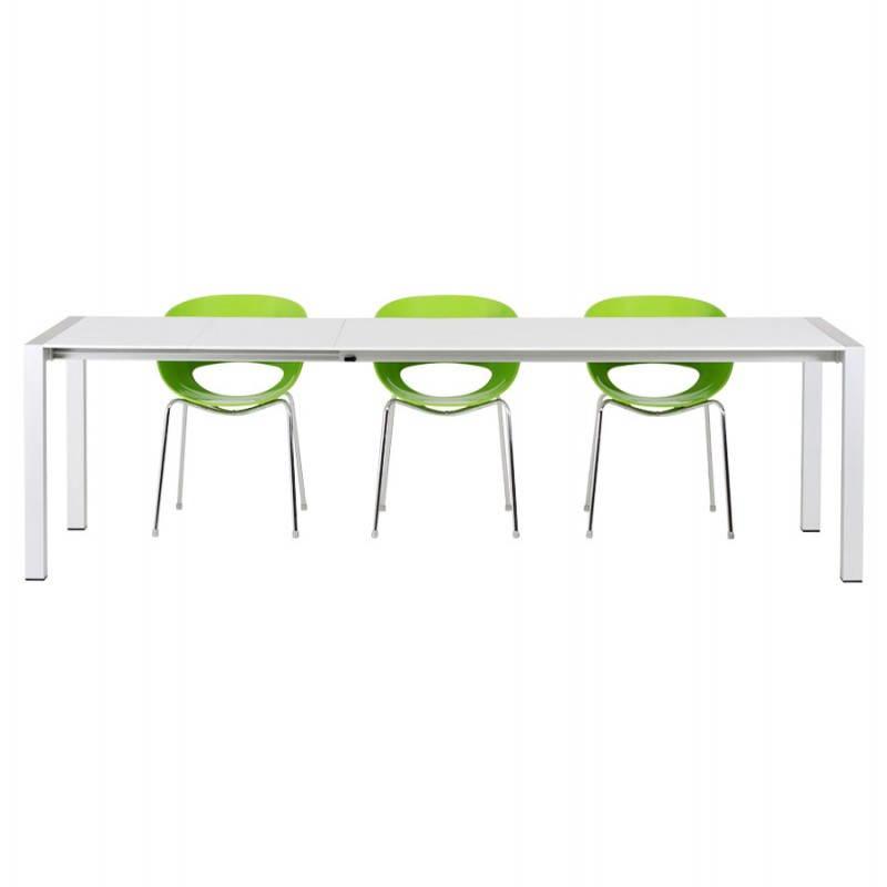 Table design rectangulaire avec rallonges LOURDE en bois laqué et aluminium brossé (blanc) - image 21571