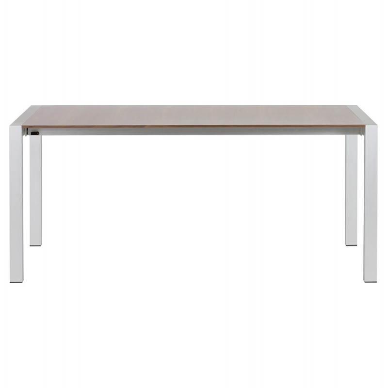 Table design avec rallonges LOURDE en plaqué noyer et aluminium brossé (170/260cmX90cmX74cm) (noyer) - image 21575