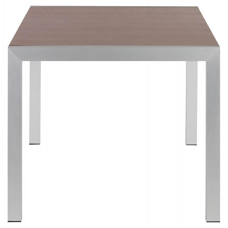 Table design avec rallonges LOURDE en plaqué noyer et aluminium brossé (170/260cmX90cmX74cm) (noyer) - image 21576