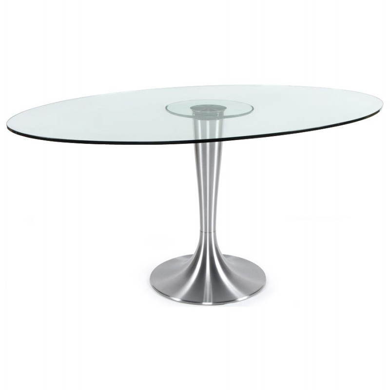 Table design ronde loupe en verre tremp et aluminium bross 160 cm transparent - Table ronde en verre design ...