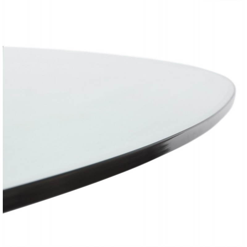 design roundtable magnifying glass tempered glass and brushed aluminium 216 160 cm transparent