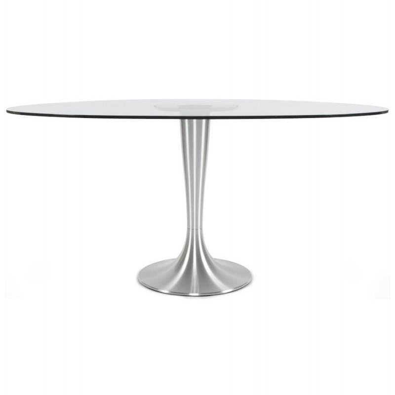 Table design ronde loupe en verre tremp et aluminium bross 160 cm tran - Table ronde verre trempe ...