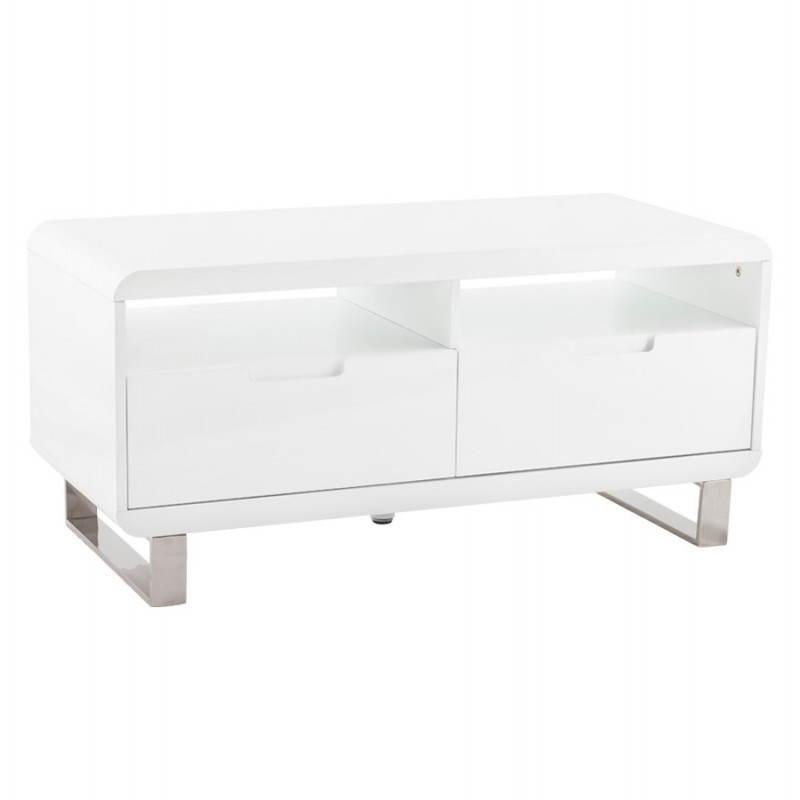 Meuble TV LIFOU en bois laqué (blanc)