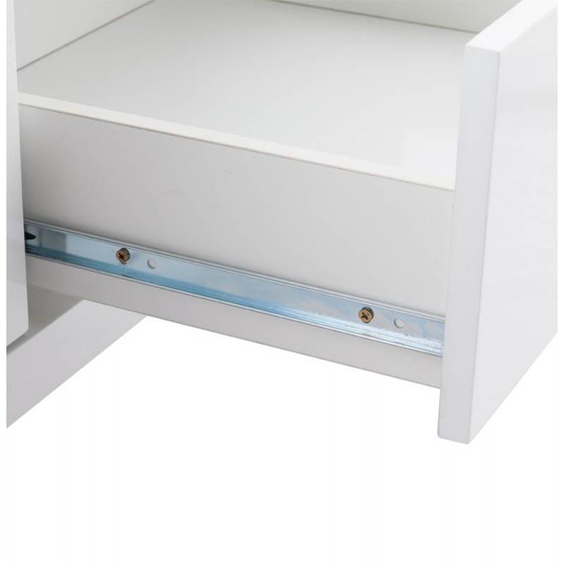Meuble tv lifou en bois laqu blanc for Laque meuble bois