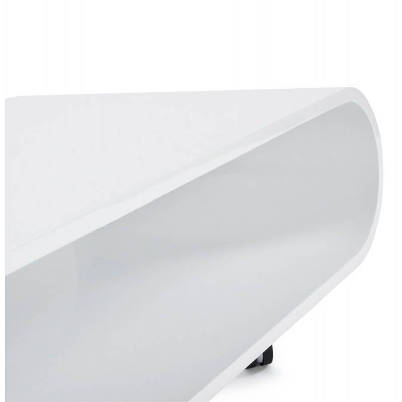 Table basse ovale sur roulettes lama en bois laqu blanc for Table basse bois ovale