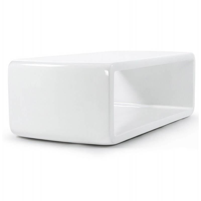 Table basse rectangulaire glamour en fibre de verre blanc - Table basse en verre rectangulaire ...