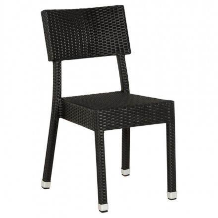 Chaise design tressée NEPAL en polymère (noir)