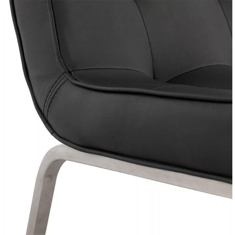 Chaise vintage capitonnée LINGO en polyuréthane et acier brossé (noir) - image 21988