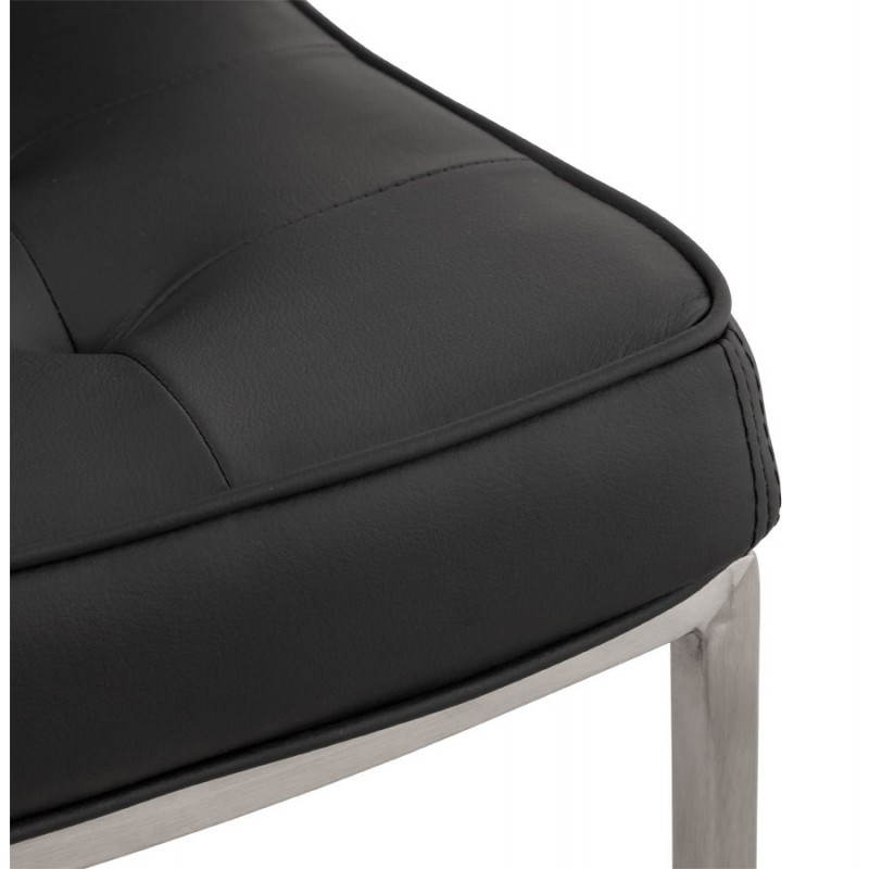 Chaise vintage capitonnée LINGO en polyuréthane et acier brossé (noir) - image 21989