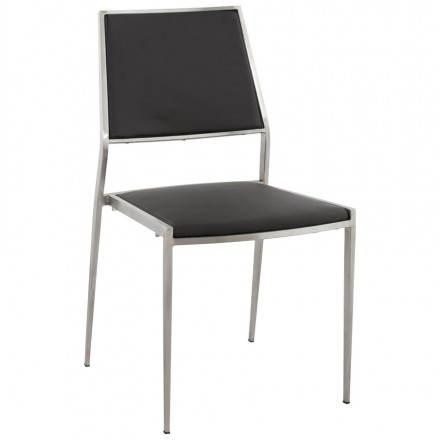 Chaise design et moderne MOUN en simili cuir (noir)