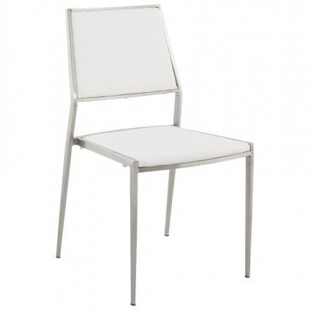 Chaise design et moderne MOUN en polyuréthane et métal brossé (blanc)