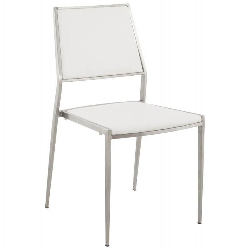 Moderner Stuhl Sioule Polyurethan Und Verchromtem Metall Weiss Und