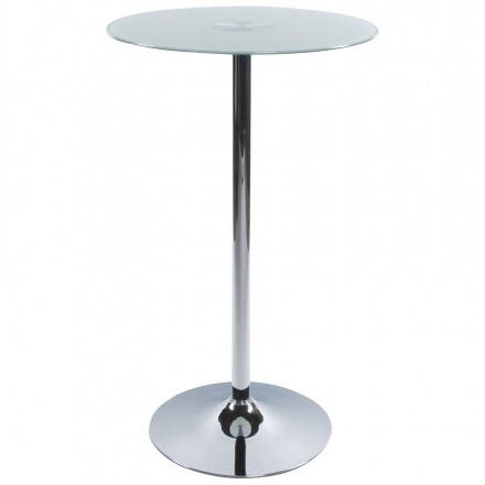 Side table high BARY glass and chromed metal (Ø 65 cm) (white)