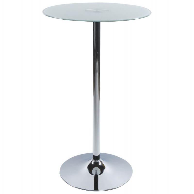 Table haute d'appoint BARY en verre et métal chromé (Ø 65 cm) (blanc) - image 22069