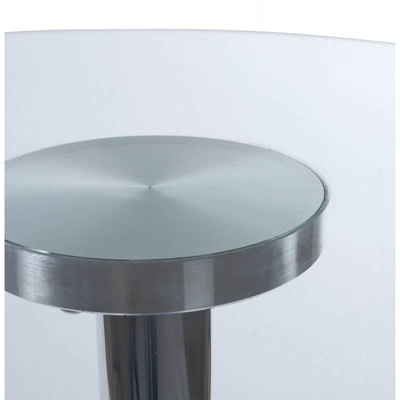 Table haute d'appoint BARY en verre et métal chromé (Ø 65 cm) (transparent) - image 22077